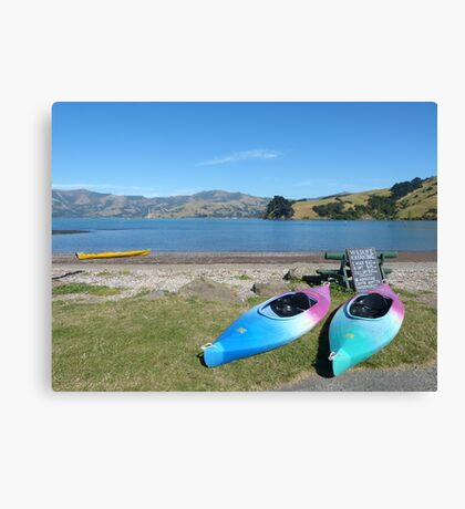 On the shore of Akaroa Harbour Canvas Print