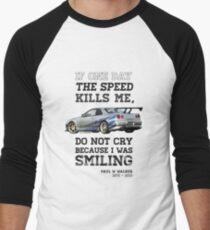 Paul Walker Tribute GTR - Halftone Men's Baseball ¾ T-Shirt