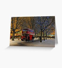 Red London Bus in the Snow Greeting Card