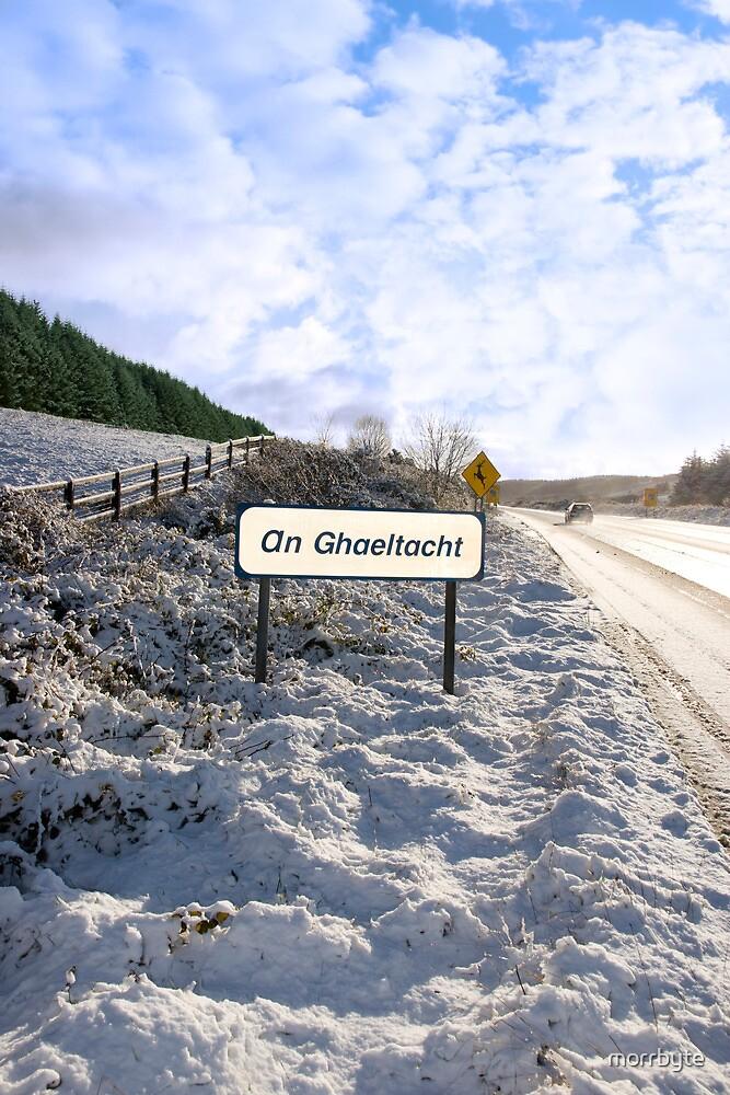 an ghaeltacht sign in irish snowscape by morrbyte