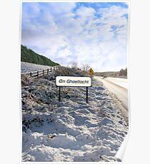 an ghaeltacht sign in irish snowscape Poster