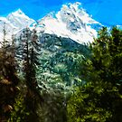 Wyoming Grand Tetons Abstract Impressionism by pjwuebker