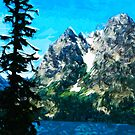 Wyoming Grand Tetons Mountains Abstract Impressionism by pjwuebker