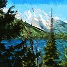 Wyoming Grand Teton Mountains Abstract Impressionism by pjwuebker