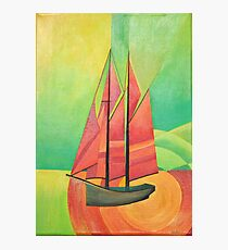 Cubist Abstract Sailing Boat Photographic Print