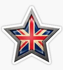 Union Jack British Flag inside of an Aged and Scratched Star Sticker