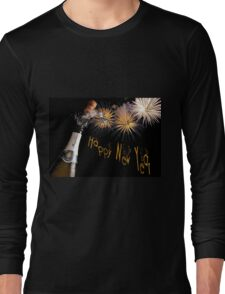 Happy New Year Greeting With Champagne and Fireworks T-Shirt