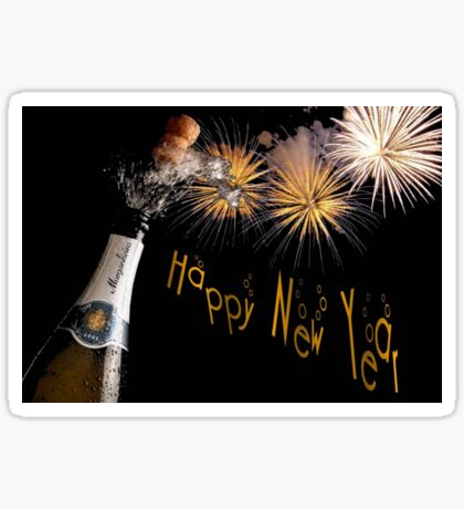 Happy New Year Greeting With Champagne and Fireworks Sticker