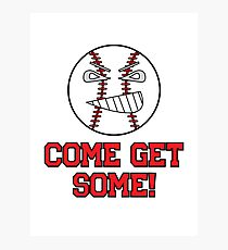 "Cartoon Baseball ""Come Get Some!"" Photographic Print"