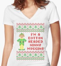 Funny Elf Cotton Headed Ninny Muggins Ugly Sweater Women's Fitted V-Neck T-Shirt