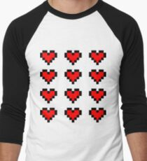 12 Pixel Hearts - Red Men's Baseball ¾ T-Shirt