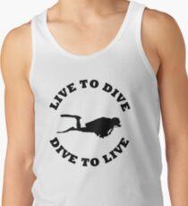 LIVE TO DIVE DIVE TO LIVE BLACK SCUBA Tank Top