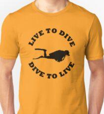 LIVE TO DIVE DIVE TO LIVE BLACK SCUBA Unisex T-Shirt