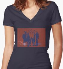 Arcade Fire Distressed Women's Fitted V-Neck T-Shirt