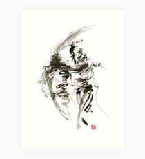 Samurai sword bushido katana short knife ninja shadow martial arts sumi-e original ink painting artwork Art Print