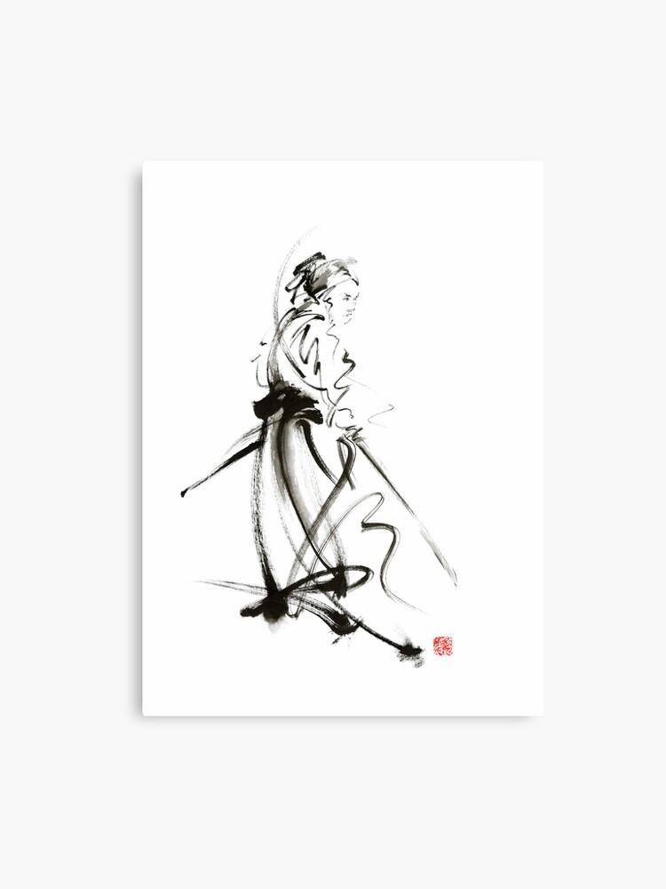 203f39df Samurai sword bushido katana martial arts sumi-e original ink painting  artwork Metal Print