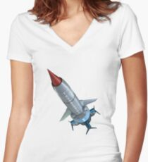 thunderbird 1 Women's Fitted V-Neck T-Shirt