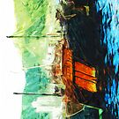 Boats in Hong Kong Harbor Abstract Impressionism by pjwuebker