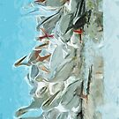 White Pelicans and Black Friend Abstract Impressionism by pjwuebker