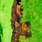 Wild American Bison With Calves Abstract Impressionism by pjwuebker
