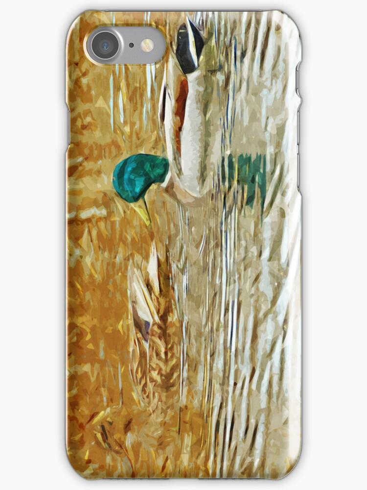 Mallard Ducks Swimming Abstract Impressionism by pjwuebker