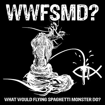 What Would Flying Spaghetti Monster Do? Sticker by Littledeviltees