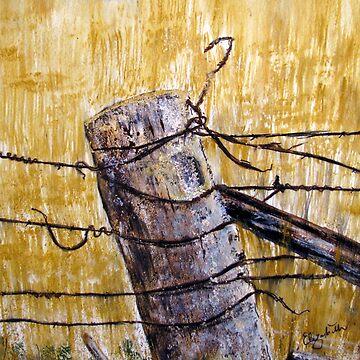 A lonely fence in Australia by Happyart