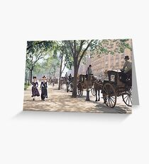 Cab Stand at Madison Square Garden, 1900 Greeting Card