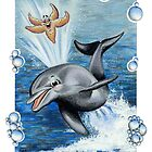 DOLPHIN & STARFISH PLAYING by Colette van der Wal