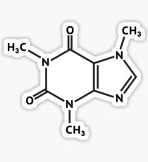 Pegatina Estructura molecular de la molécula de cafeína