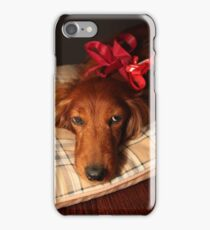 Present dog with red ribbon iPhone Case/Skin