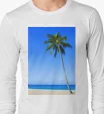 Palm Tree, Waimea Bay, Oahu, Hawaii Long Sleeve T-Shirt