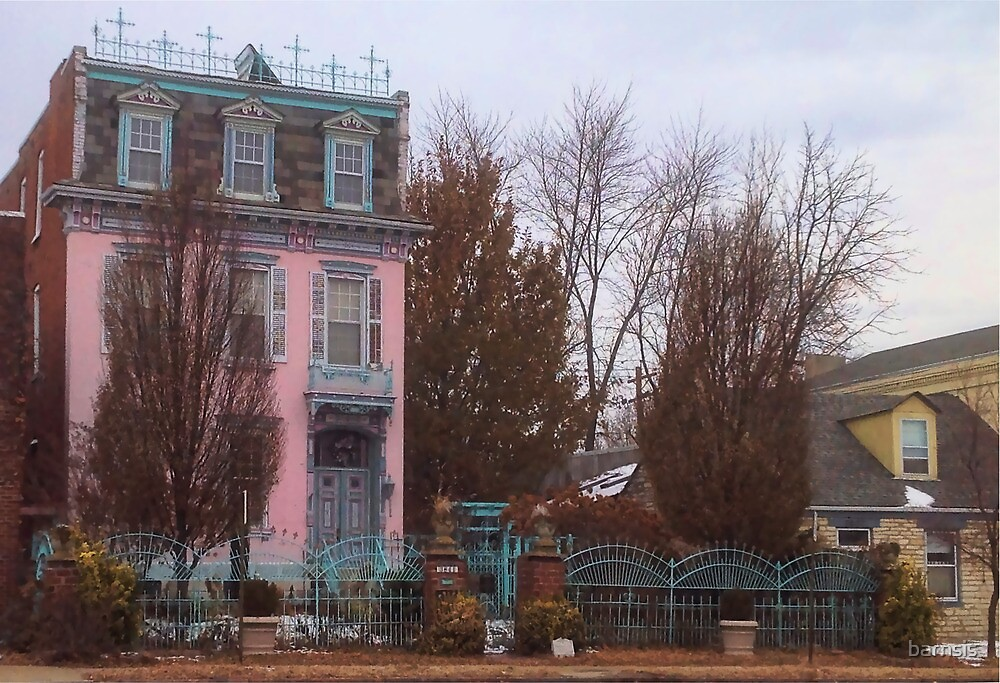 Pink House with Blue Fence by barnsis