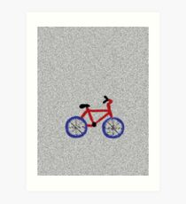 Blue and Red Bicycle Art Print