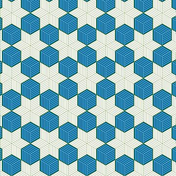 Blue cubes and green stars - tessellation by southpawmiller