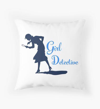 Girl Detective (dark on light) Throw Pillow