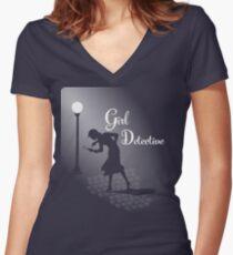 Girl Detective Women's Fitted V-Neck T-Shirt