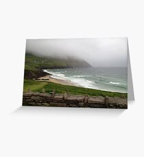 Mist over the mountains at Coomeenole Beach, Kerry, Ireland Greeting Card