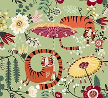 Tiger garden - green by Asa Gilland