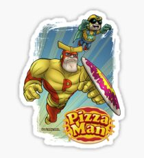 Pizza Man Leaping Sticker