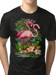 Retro Pink Flamingos Tri-blend T-Shirt