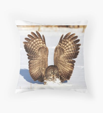 Caught - Great Grey Owl Throw Pillow