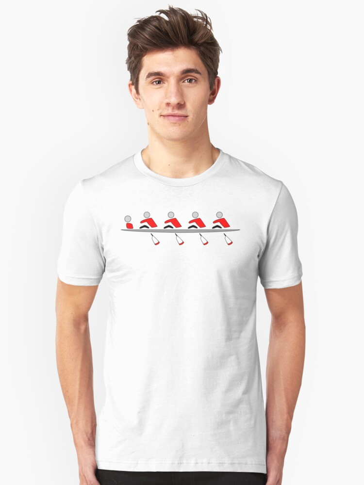 Rowing - 4+, red & black, light background Unisex T-Shirt Front