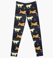 Golden Retrievers.  Print of Embroidered Textile Leggings