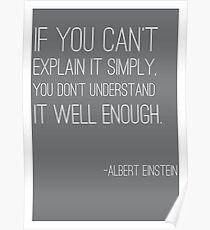 """Póster """"Si no puedes explicarlo simplemente"""" cita Einstein"""
