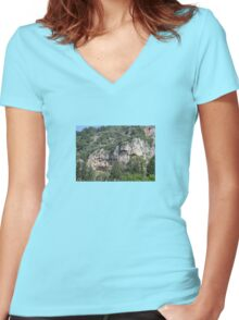 Dalyan Lycian Rock Tombs Women's Fitted V-Neck T-Shirt