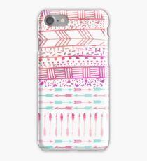 Trendy pink teal watercolor arrows tribal pattern  iPhone Case/Skin