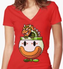 Bowser and Clown Copter Women's Fitted V-Neck T-Shirt