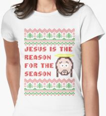 Jesus is The Reason for The Season Ugly Christmas Sweater Women's Fitted T-Shirt