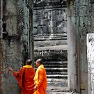Two monks at a temple by Paige
